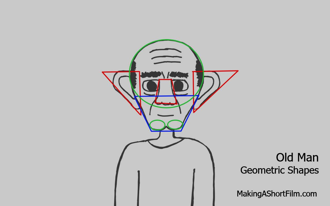 Geometric shapes overlaid over the face of the Old Man