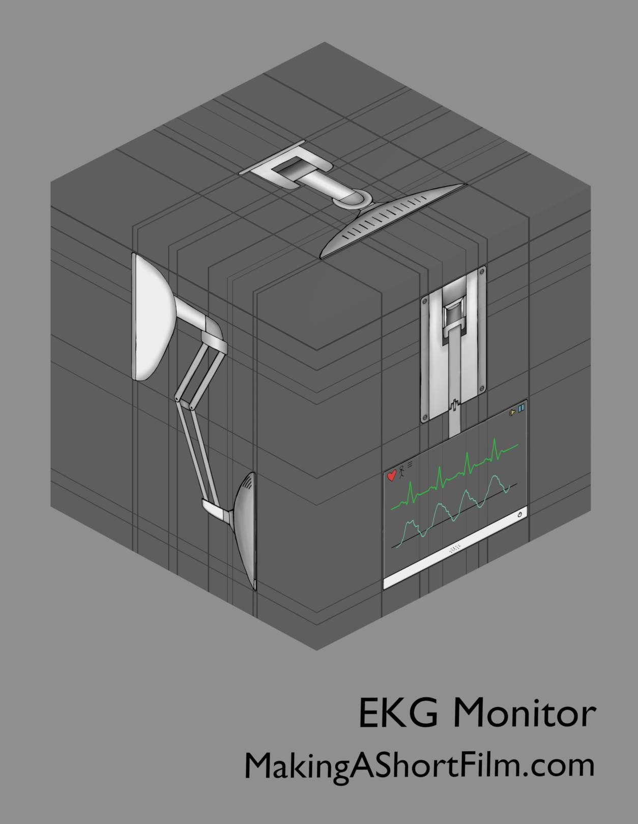 The concept art design for the EKG monitor presented in 3D with relationship lines