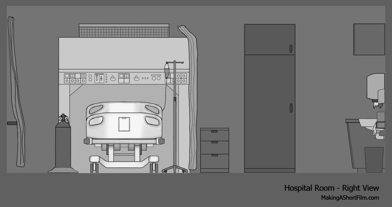The concept art of the right wall of the hospital room
