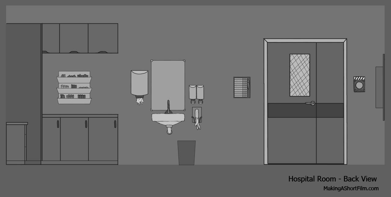 The concept art of the back wall of the hospital room