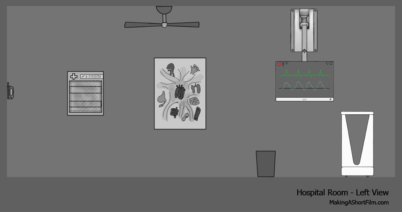 The concept art of the left wall of the hospital room