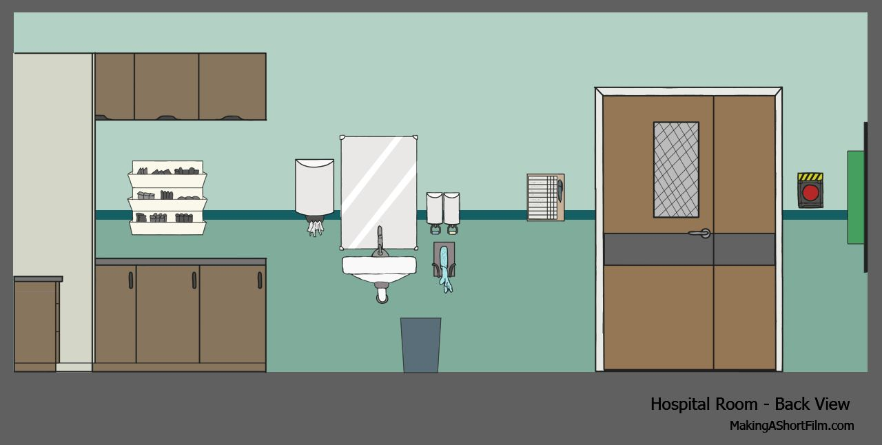 Thefinished  concept art of the back wall of the hospital room