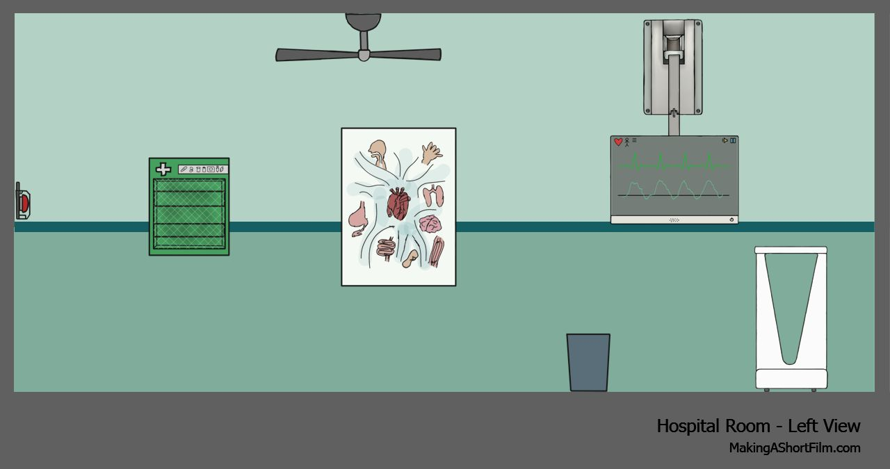 The finished concept art of the left wall of the hospital room