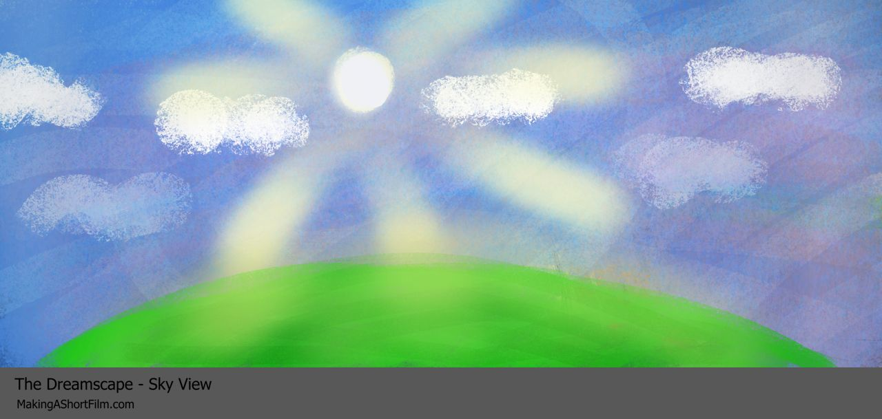 The finished concept art of the sky in the Dreamscape