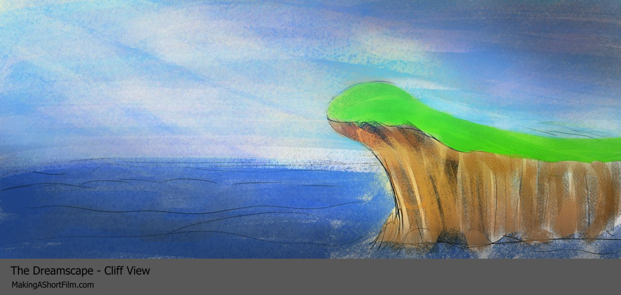 The finished concept art of the cliff in the Dreamscape